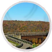 Enter The Kinzua Skywalk Round Beach Towel