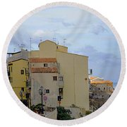 Entering Cefalu In Sicily Round Beach Towel