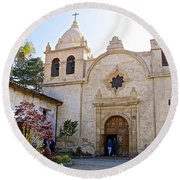 Entering The Church Sanctuary At Carmel Mission-california  Round Beach Towel