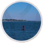 Entering Watch Hill Waters Round Beach Towel