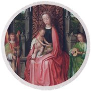Enthroned Virgin And Child, With Angels Round Beach Towel