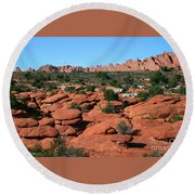 Entrada Sandstone Formations - Arches National Park Round Beach Towel