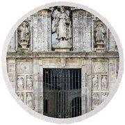 Entrance Facade In Landmark Cathedral Of Santiago De Compostela  Round Beach Towel