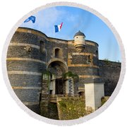 Entrance Gate Of Angers Castle Round Beach Towel