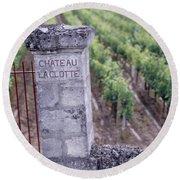 Entrance Of A Vineyard, Chateau La Round Beach Towel