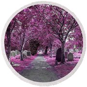Entrance To A Cemetery Round Beach Towel