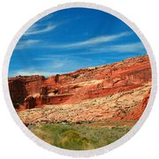 Entrance To Arches National Park Round Beach Towel