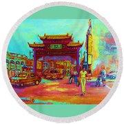 Entrance To Chinatown Round Beach Towel by Carole Spandau