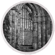 Entrance To Cong Abbey Cong Ireland Round Beach Towel