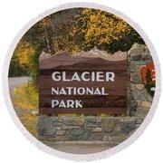 Entrance To Glacier Round Beach Towel