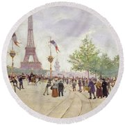 Entrance To The Exposition Universelle Round Beach Towel