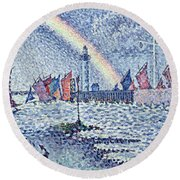 Entrance To The Port Of Honfleur Round Beach Towel