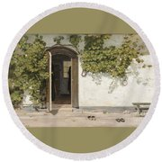 Entrance To The Rectory At Hill Place Round Beach Towel