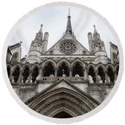 Entrance To The Royal Courts London Round Beach Towel
