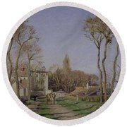 Entrance To The Village Of Voisins Round Beach Towel by Camille Pissarro