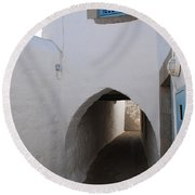 Entrance Tunnel At Monastery Of Saint John The Theologian Round Beach Towel