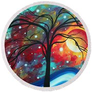Envision The Beauty By Madart Round Beach Towel by Megan Duncanson
