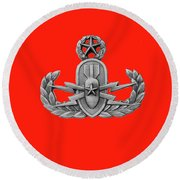 Eod Master Badge Emblem On Red Round Beach Towel