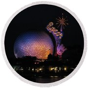 Epcot At Night II Round Beach Towel