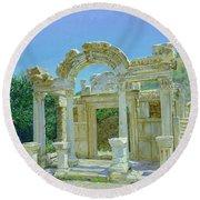 Ephesus.ruins Round Beach Towel