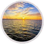 Epic Colorful Sunset On Sea Round Beach Towel