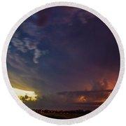 Epic Nebraska Lightning 002 Round Beach Towel