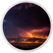Epic Nebraska Lightning 004 Round Beach Towel