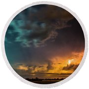 Epic Nebraska Lightning 008 Round Beach Towel