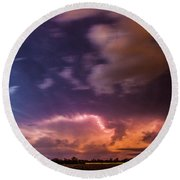 Epic Nebraska Lightning 009 Round Beach Towel