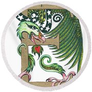 Epsilon Eagle In Green And Gold Round Beach Towel