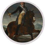 Equestrian Portrait Of Fernando Vii Round Beach Towel