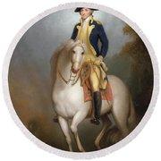 Equestrian Portrait Of George Washington Round Beach Towel