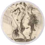 Equestrian Portrait Of Louis Xiii Of France Round Beach Towel