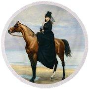 Equestrian Portrait Of Mademoiselle Croizette Round Beach Towel
