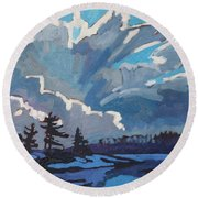 Equinox Cold Front Round Beach Towel by Phil Chadwick