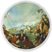 Erminia And The Shepherds Round Beach Towel