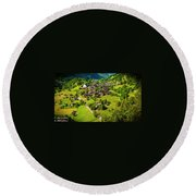 The Alpine Village Of Ernen In Switzerland  Round Beach Towel