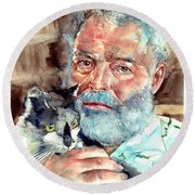Ernest Hemingway Watercolor Round Beach Towel