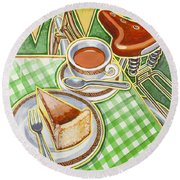 Eroica Britannia Bakewell Pudding And Cup Of Tea On Green Round Beach Towel