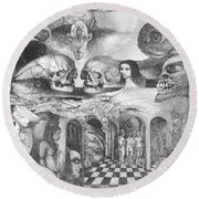Eros Thanatos II Round Beach Towel