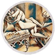 Erotic Abstract Four Round Beach Towel
