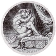 Erotic Nude Drawing One Round Beach Towel