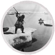 Eskimo Fishermen Round Beach Towel
