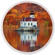 Esopus Lighthouse In Late Fall #3 Round Beach Towel