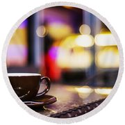 Espresso Coffee Cup In Cafe At Night Round Beach Towel