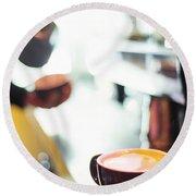 Espresso Expresso Italian Coffee Cup With Machine  Round Beach Towel