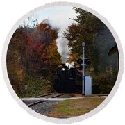 Essex Steam Train Coming Into Fall Colors Round Beach Towel