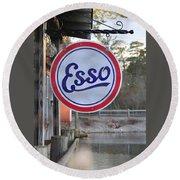 Esso Sign  Round Beach Towel