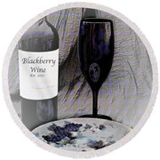 Est 2017 Blackberry Wine Round Beach Towel