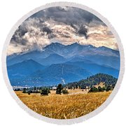 Estes Park From Glen Haven 3 Round Beach Towel